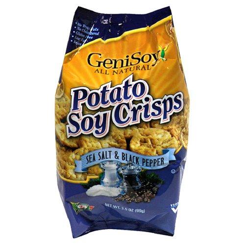 Genisoy Potato Soy Crisps, Sea Salt & Black Pepper, 3.5-Ounce Bags (Pack of 12)