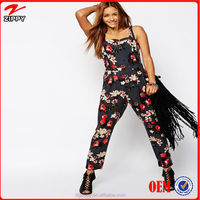 Floral Strappy Woven Fabric Dungaree Jumpsuit - Buy Floral ...