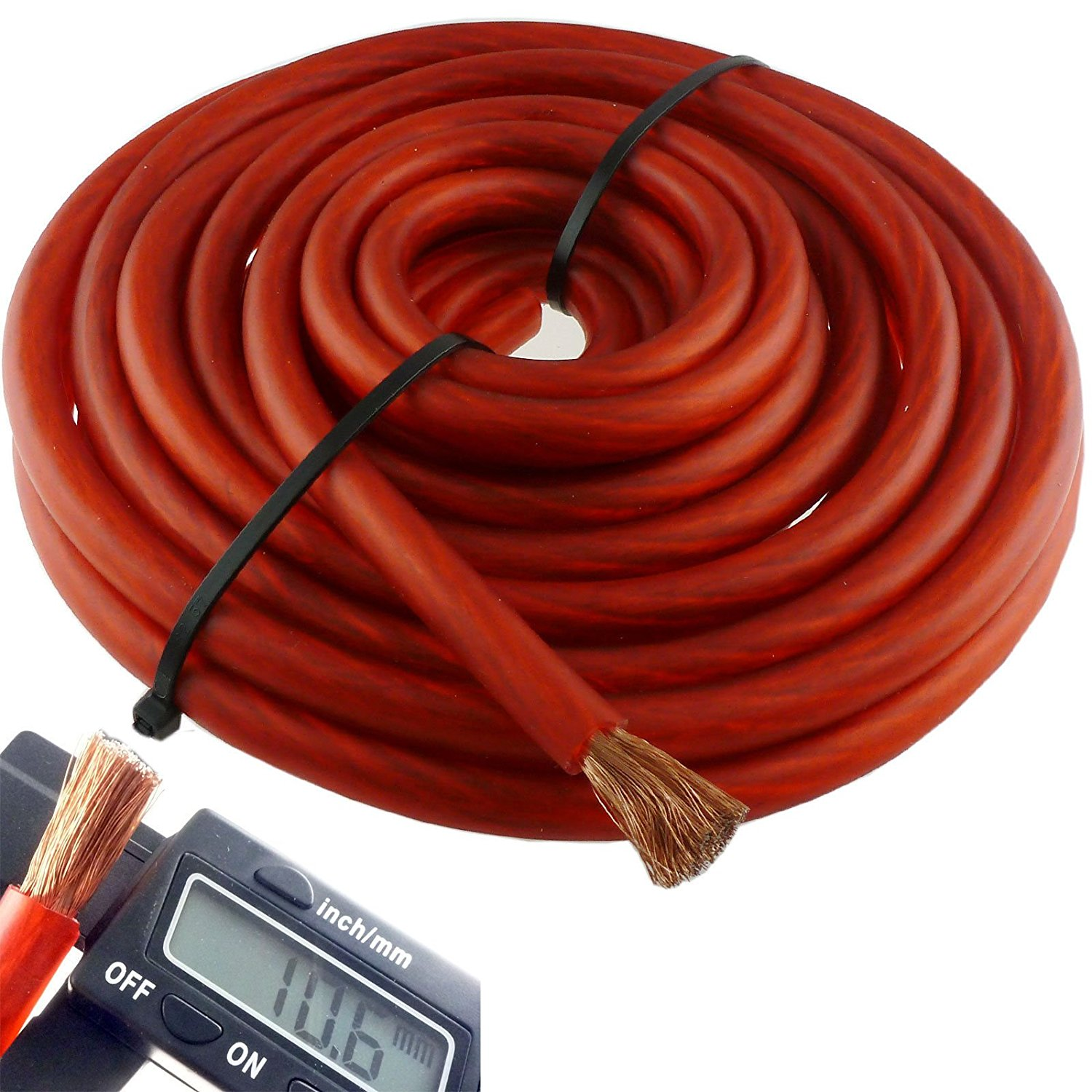 Hyperflex 10' ft 4 Gauge Red Car Audio Power Ground Wire Cable AWG 10 Feet Fast