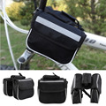 Bicycle Cycling Frame Pannier Saddle Front Tube Bag Both Side Double Pouch free shipping