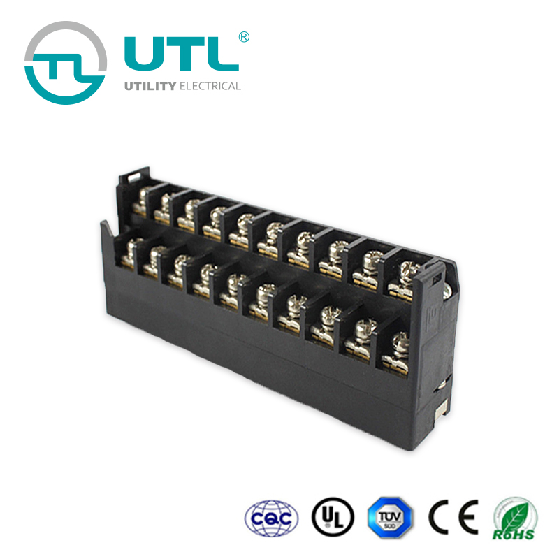 Double Row Screw Terminal without Covered Barrier Strip 300V 15A