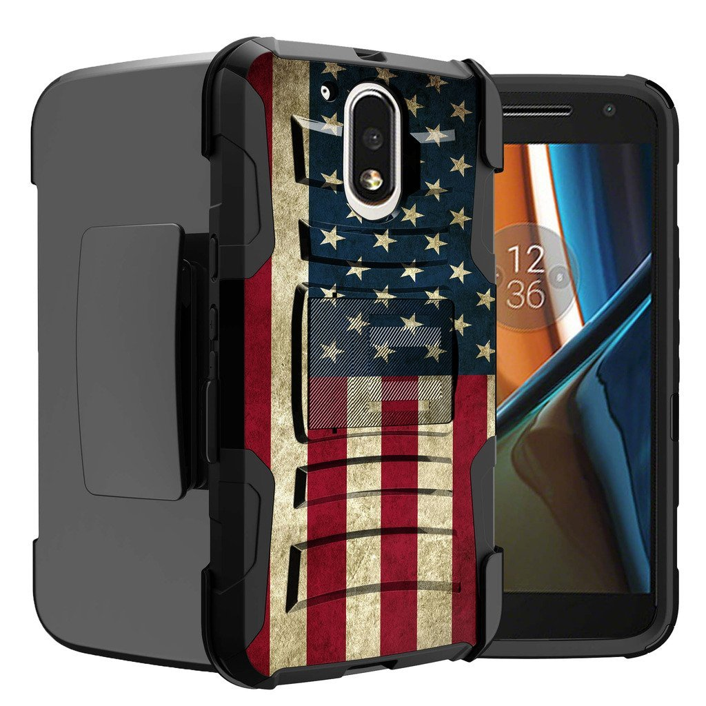 Untouchble Case for Moto G4| Moto G4 Plus Case | Motorola Moto G (4th Gen) Flag Case [Heavy Duty Clip]- Shockproof Swivel Holster Case with Built in Kickstand - Vintage America Flag