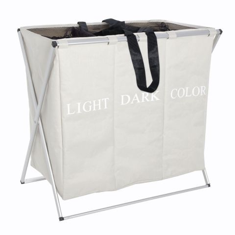 3 Compartments Rolling Laundry Hamper Sorter