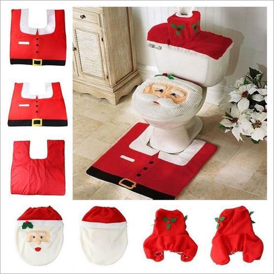 Christmas Bathroom Decoration Happy Santa Toilet Seat Cover And ...