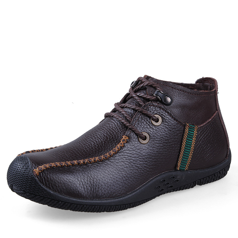 2015 Winter snow mens boots Men leather ankle boot-in Men