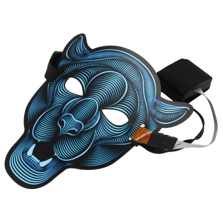 Culturemart Sound Activated Halloween EL Mask,Halloween Party Mask The Sound Reactive Led Mask (Lion)