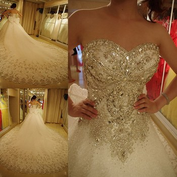 Ne012 Luxury Wedding Dresses Bling Sweetheart Organza Royal Train ...