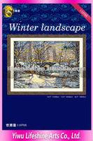 beautiful handmade winter landscape indian handicrafts wholesale cross stitch kits for home decoration