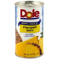 Dole Processed Foods Juice Pineapple 6 Ounce (03-0426) Category: Fruit Juices