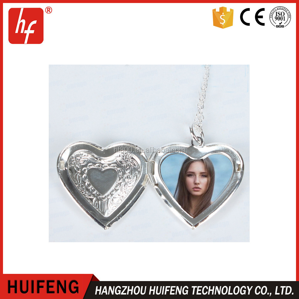 heart shaped customed DIY silver sublimation blank jewelry pendant choker necklace