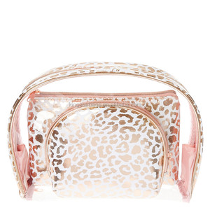 Rose Gold Leopard Print Cosmetic Bag sets