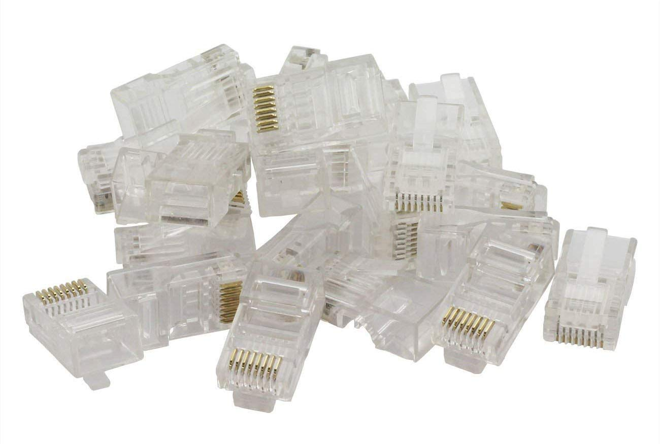 ZRM&E 100pcs 8P8C RJ45 Crimp Connector Cat5e Unshielded Crystal Heads Ethernet Cable Plug Terminals Gold-plated Network 8P8C Modular RJ 45 Connector
