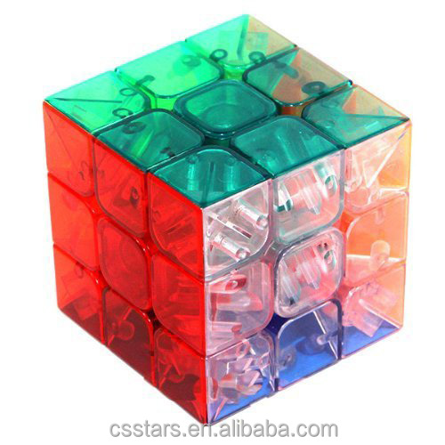 Transparent Stickerless Cube Puzzle in plastic