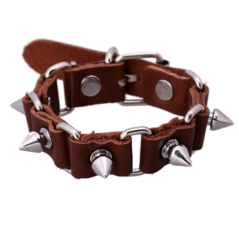 sh06-5 Hot Sale Punk  Bullet Bracelets Vintage Leather Bracelets 2015 High-end Alloy Bracelets For Men&Women Factory Price