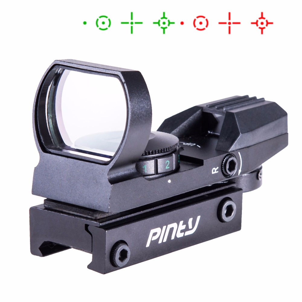 Tactical Holographic Reflex Red Green Dot Sight 4 Type Reticle for 20mm Rails BK