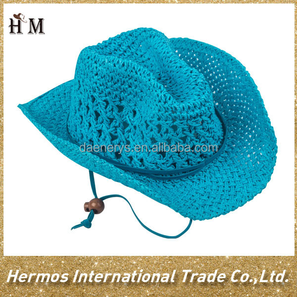 Light blue promotional hat kids cowboy crochet straw hat