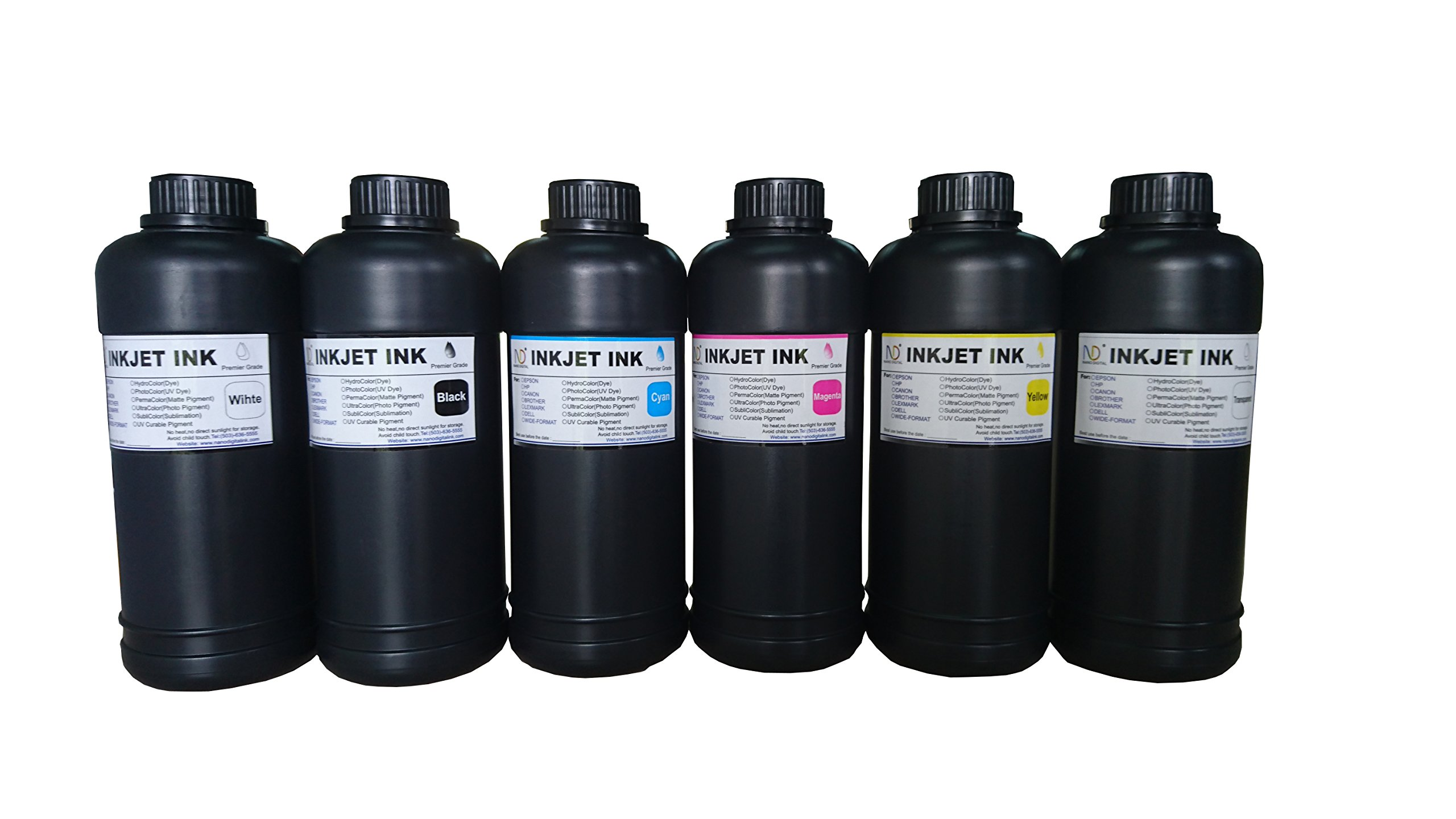 6x500ml ND Brand Premium Led UV Curable ink for Flatbed Printer Head R290,L800,L1800,R1390,R1400,R2000,DX5,DX7
