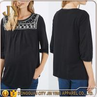 2014 latest neck blouse designs and hands arabic women's blouse blouse 3/4 Sleeves uniform maternity clothing