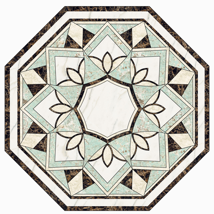 Beautiful polygon green floor tiles natural marble medallions for different types