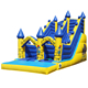 Cartoon digital printing inflatable bouncer castle with water slide