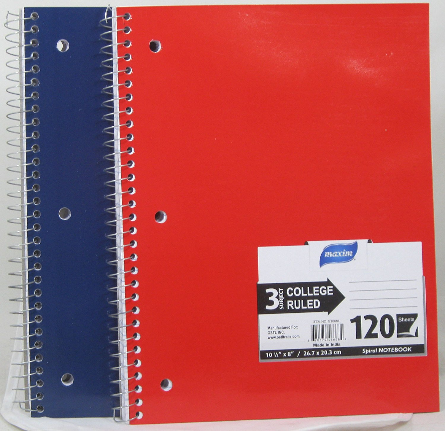"3 Pk, Maxim College Ruled 3-Subject Spiral Notebook, 120 Sheets, Assorted Colors10 1/2"" x 8"""