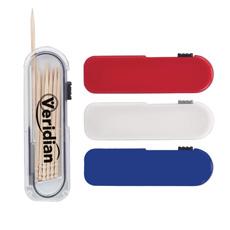 Yaratıcı 50 paketleri için özelleştirilmiş boş logo kişisel bakım ev basın taşınabilir şeffaf durumda dağıtıcı seyahat plastik diş kürdan