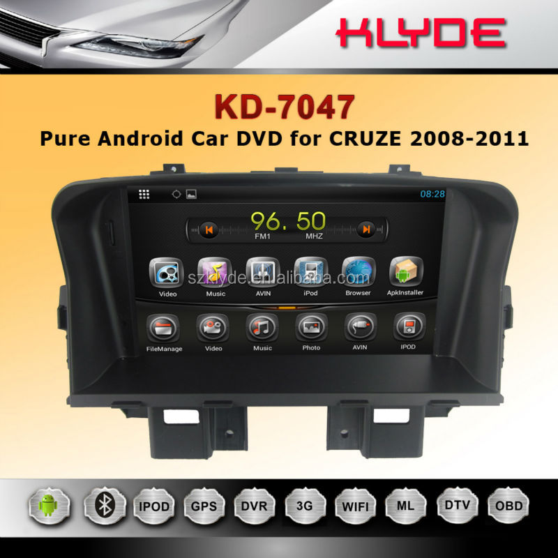 "7"" 2 din bluth tooth wifi remote control usbsd mp4 android DVD For cruze with GPS"