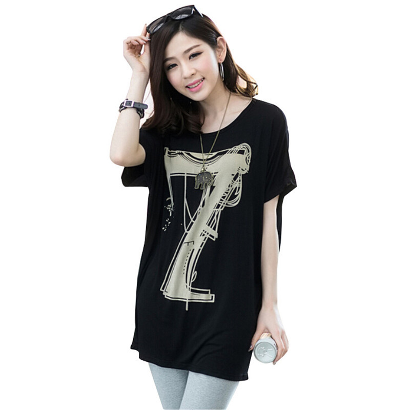 2015 Summer Style Plus Size Casual T-Shirt Women White Black Cotton T Shirt Woma Batwing Sleeve Lucky Letter 7 Printed Long Tops