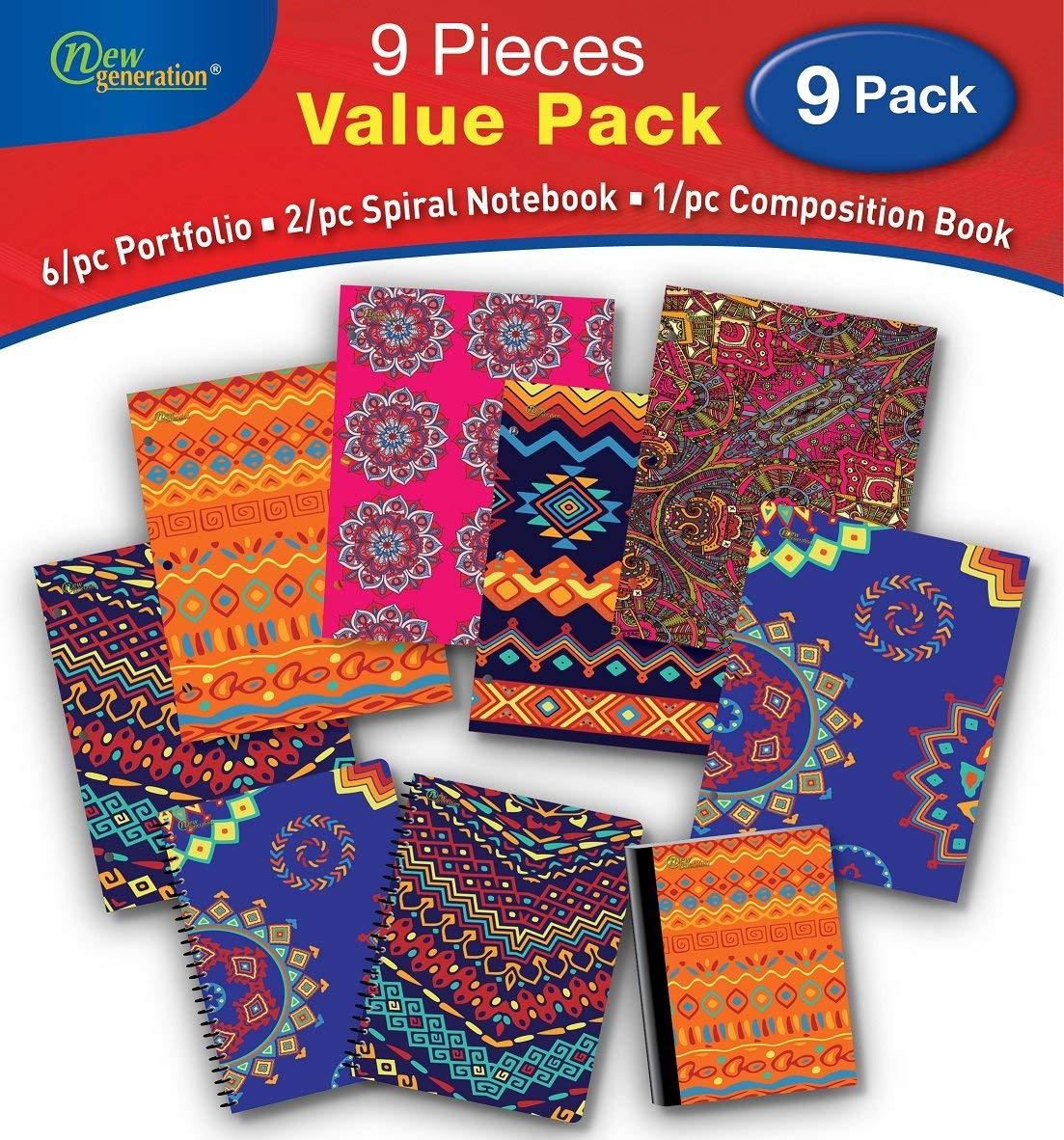 New Generation - Ethnic - 9/PC Bundle Value Pack contain, 6/pc Folders, 2/pc Spiral Notebooks,1/pc Composition Book - 9/pcs Bundle set, (WIDE Ruled 9 PIECE VALUE PACK)