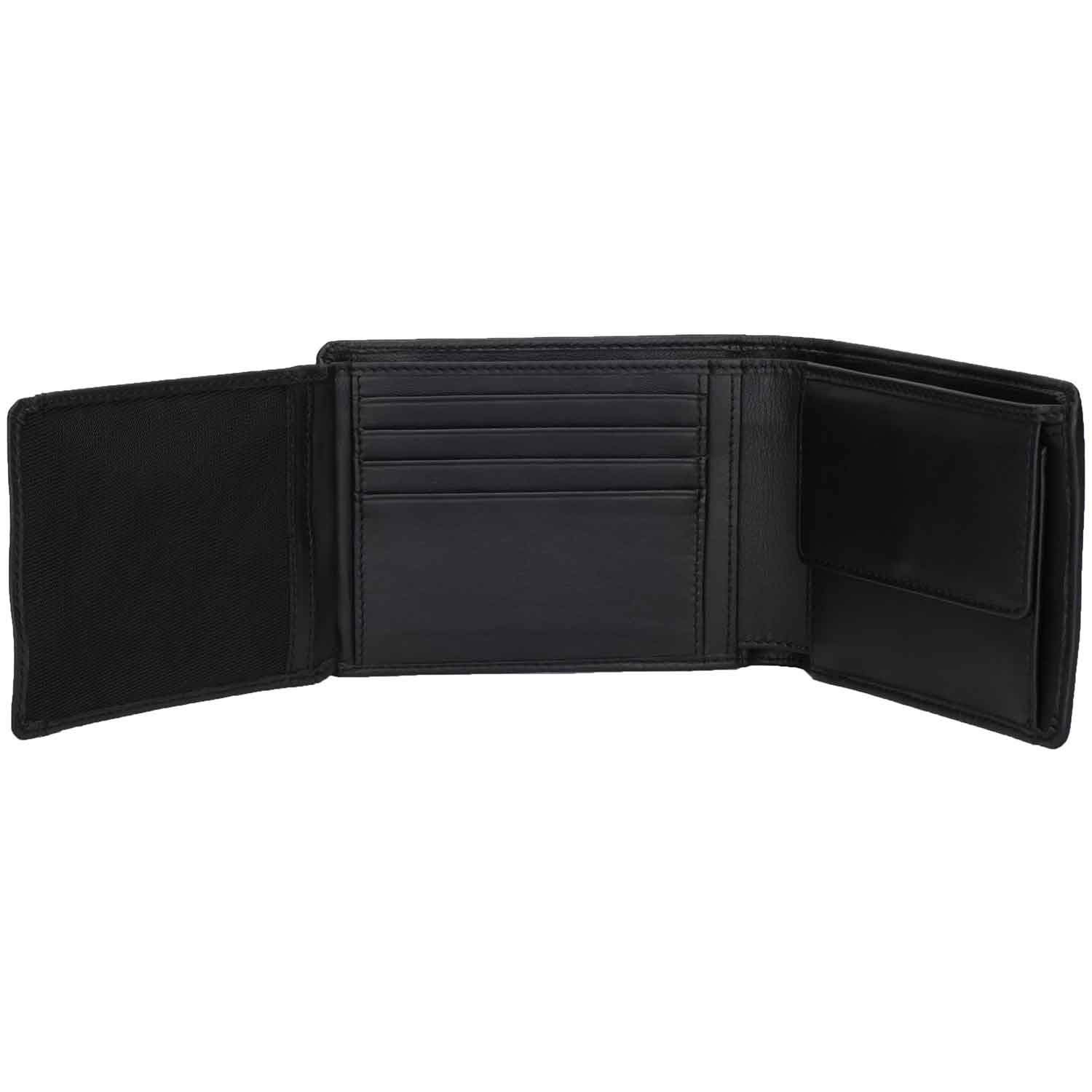 DiLoro Italy Mens Leather Wallet Bifold Flip ID Section Coin RFID Protection Full Grain Top Quality