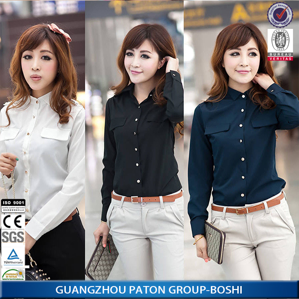 3f66371d5288e Custom hot sell new plain white lady shirts white formal shirts for ladies