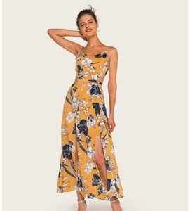 Floral Print Hollow out Waist Split Bottom Slip Long Dress