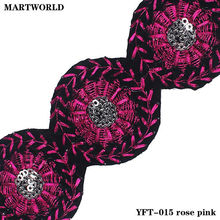 bright colorful rose pink sequined design embroidery fabric trims (YFT-015 rose pink)