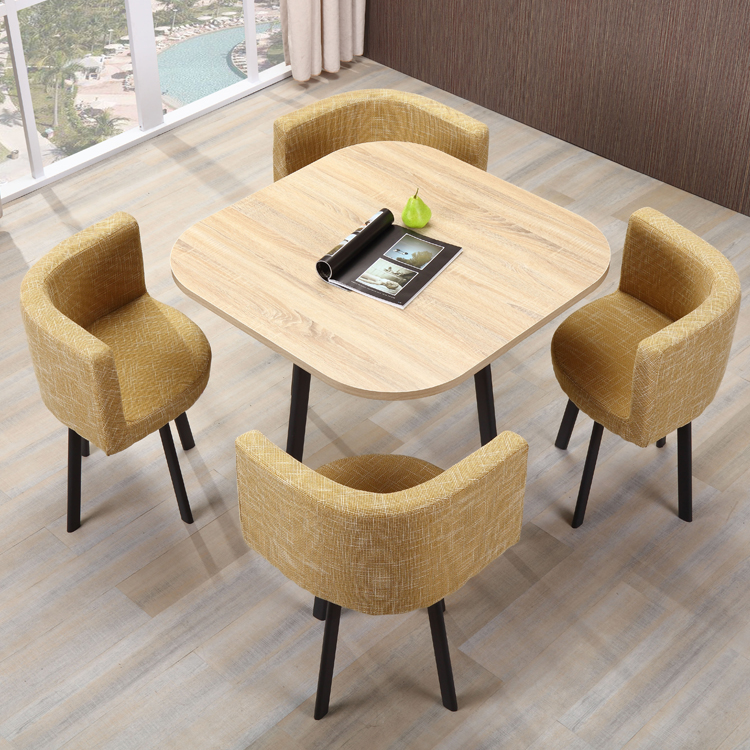 Modern metal round dining table wood upholstered restaurant leather dining room chairs set