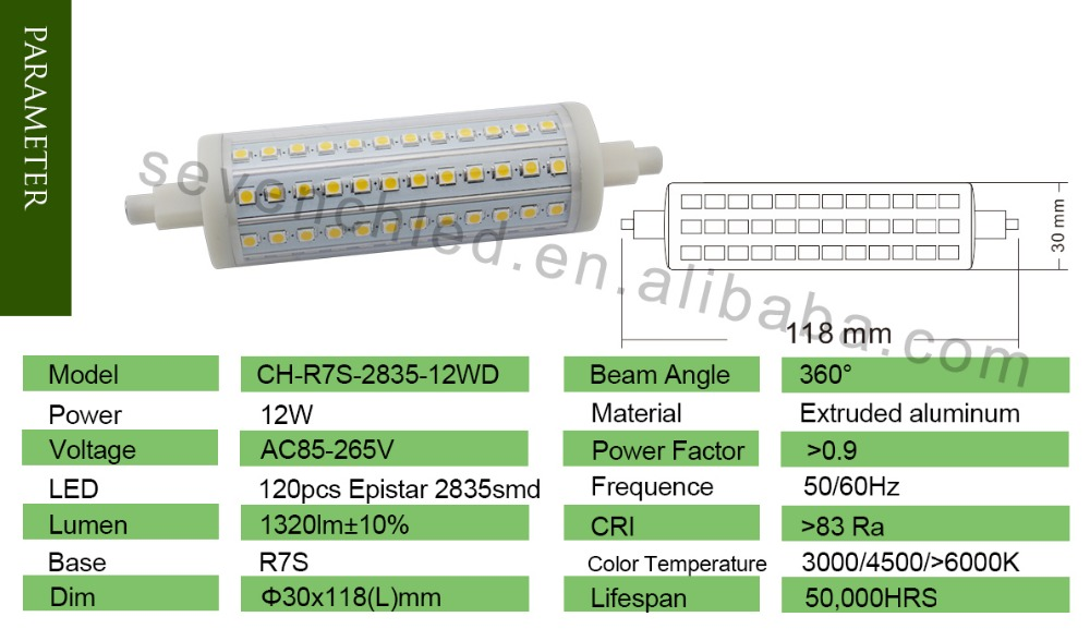 Shenzhen Supplier Led Flood Light 12w 1350lm Dimmable R7s Ligthing ...
