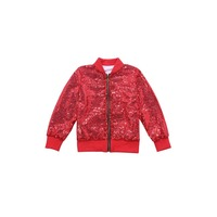 Spring autumn Jacket For Girl Cotton Red Coat Children Solid Casual Zipper Shiny Jackets kids Toddler Sequin Baby Girl Clothing