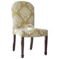 Modern Fancy dark embroidered dining chair, high back fabric upholstered dining chair,oak wood side dinning chair