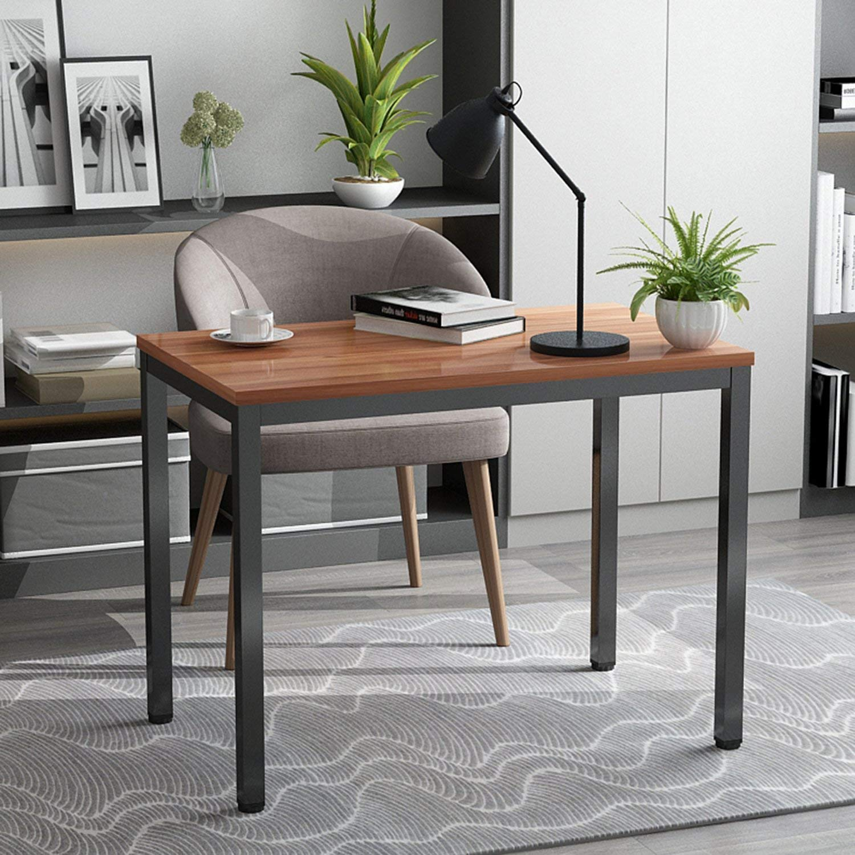 Decho Computer Desk Writing Desk Workstation PC Laptop Study Table for Home Office, Oak Brown+ Black Leg