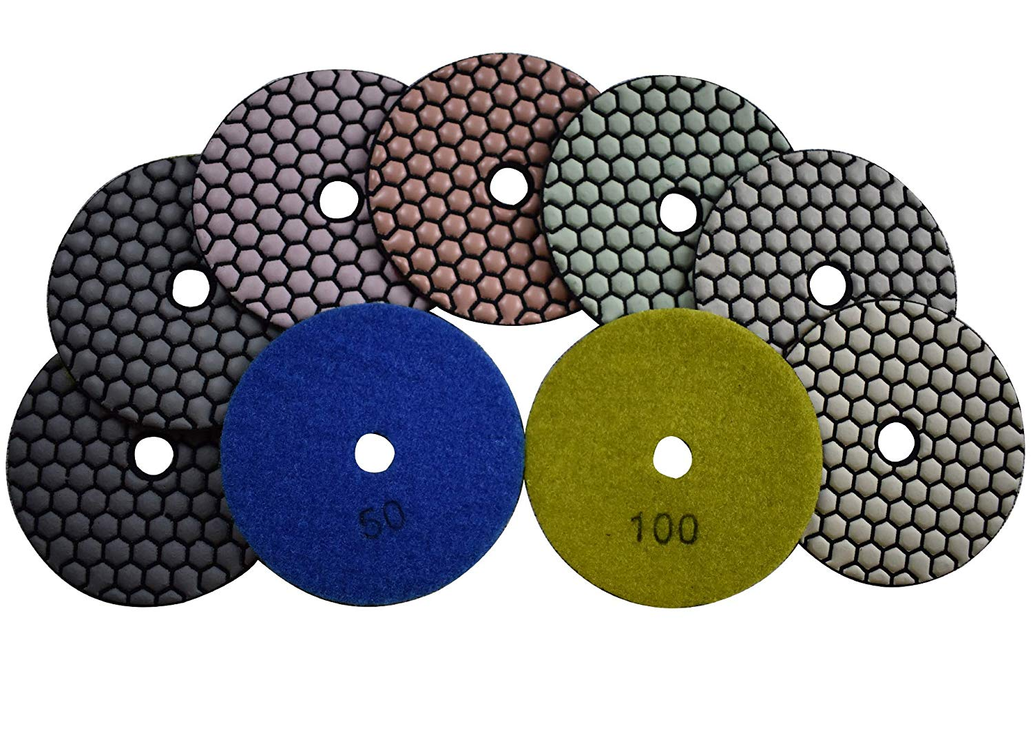 Konfor 7 Pieces of 4 inch Premium Grade Dry Diamond Polishing Pads for Marble Granite Concrete Countertop Glass Engineered Stone