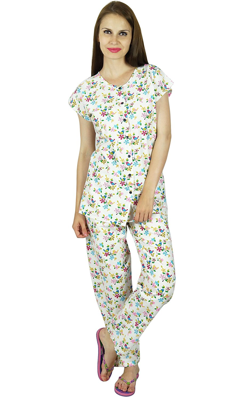 f919aaedc6 Get Quotations · Bimba Women White Cotton Night Wear Pajama Set Cap Sleeve  Shirt With Pyjamas