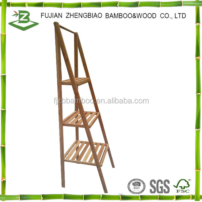 Eco-friendly bamboo ladder towel rack 3 tier