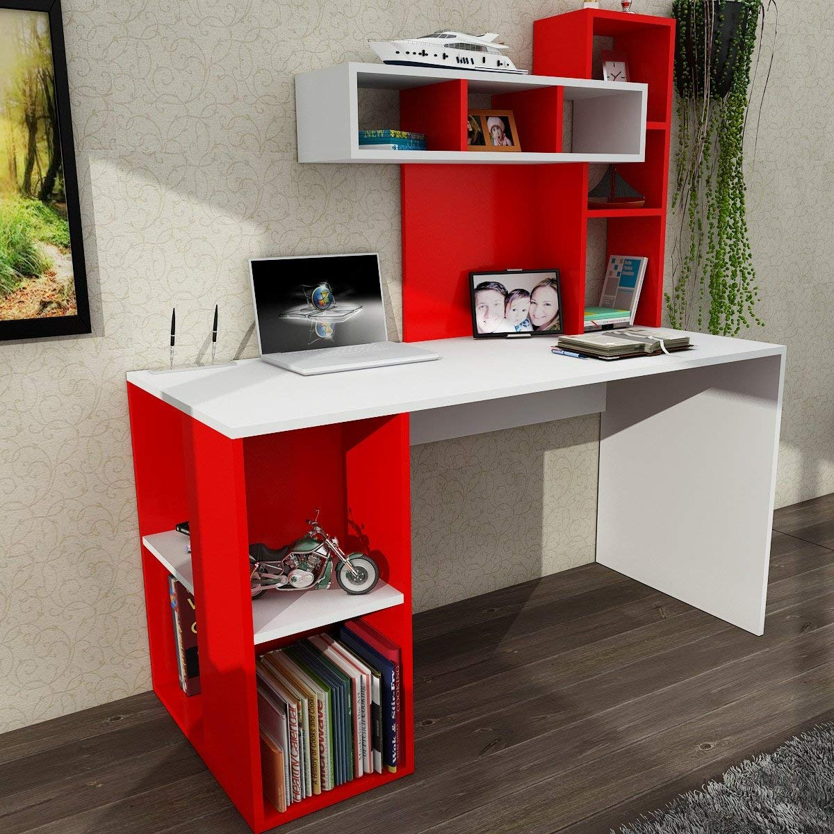 Computer Desk Modern Simple Red White