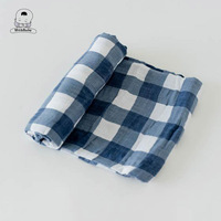 Hot Sale Pure Muslin Blue and White Plaid Cotton Fabric Blanket