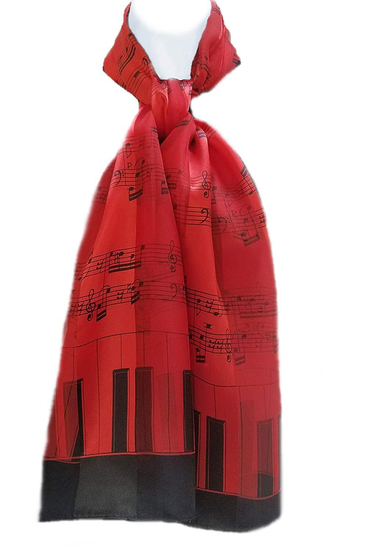 ii.. Silk Feel Scarf - Piano Keys & Sheet Music Black on Red