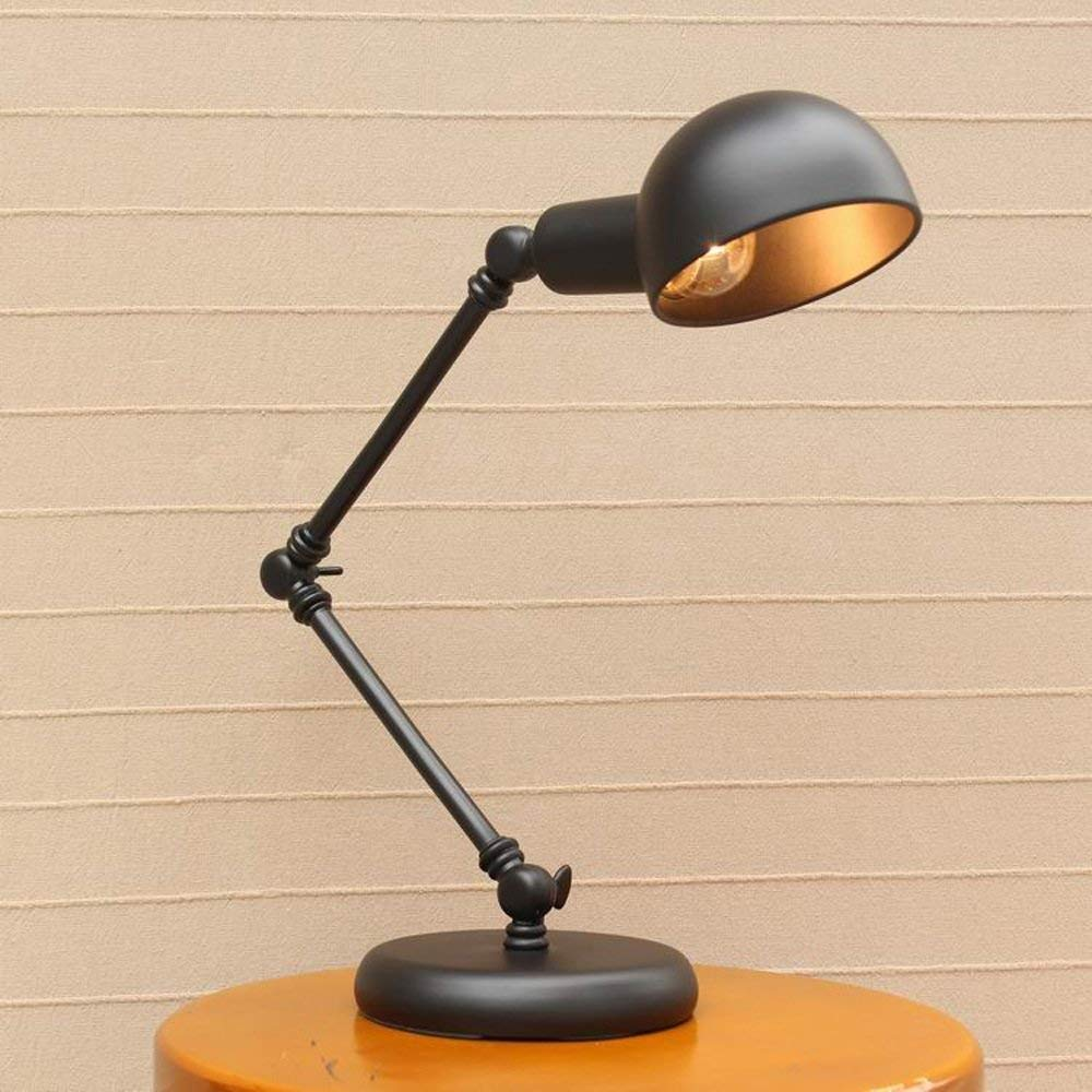 CGJDZMD Vintage Single Head Adjustable Swing Arm Table Lamp Desk Light Fixture Excellent Refined Fold Mechanical Edison Iron Desktop Lighting for Stage Barn Exhibition Hall