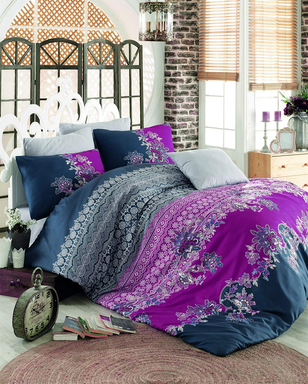 LaModaHome 3 Pcs Luxury Soft Colored Full and Double Bed Size Bedroom Bedding 100% Cotton Ranforce Quilt Duvet Cover Set Purple and Navy Blue Flower Motif Design Shape
