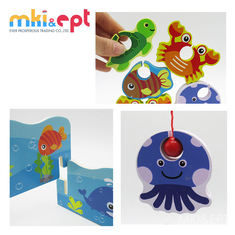 Educational Wooden Toys Kids Ocean Animal 3D Fishing Game For Wholesale