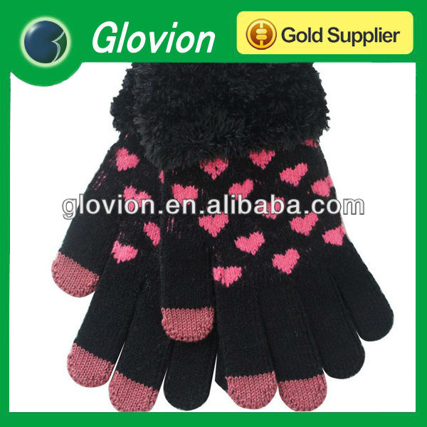 Heart print touch gloves fashion acrylic gloves for samsung, htc all smart phone