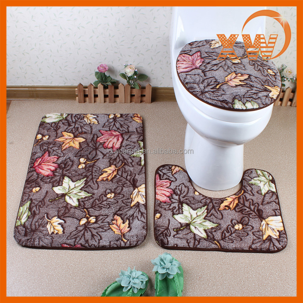Ultra soft microfiber shower floor mats suites,bathroom accessories toilet seats, bath mat set
