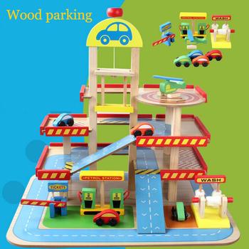Children Toys 2017 New Style Wooden Car Parking Garage Toy Kids